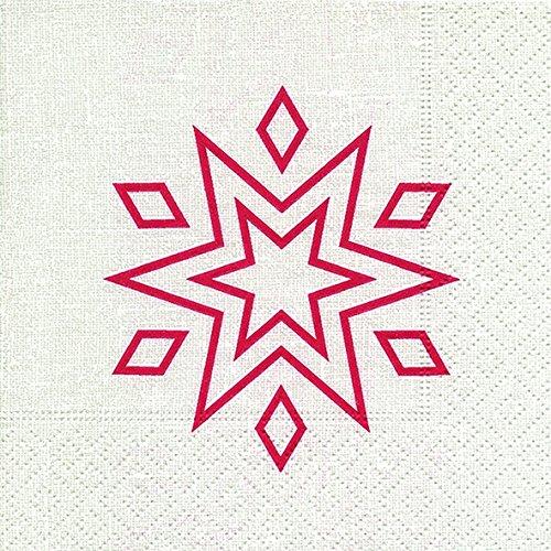 Cocktail Servietten Serviett 25x25 cm (Starry white/red) Stern weiß rot Weihnachten Winter Schnee Tiere Wald Schneemann Merry Christmas
