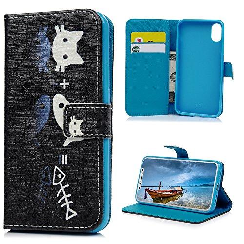 MAXFE.CO Schutzhülle Tasche Case für iPhone X PU Leder Flip Tasche Cover Gemalt Muster im Ständer Book Case / Kartenfach Baum Katze 1