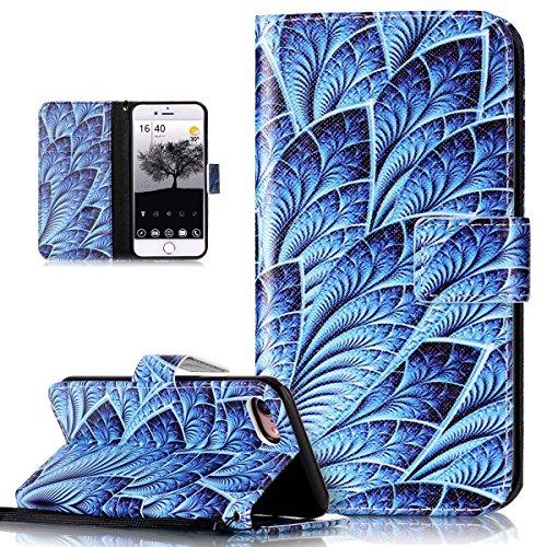Custodia iPhone 7, iPhone 7 Cover, ikasus® iPhone 7 Custodia Cover [PU Leather] [Shock-Absorption] Protettiva Portafoglio Cover Custodia Quadri colorati disegno colorato con Super Sottile TPU Interno  piuma Blu