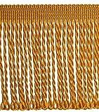 Fransen Länge 3,0 m / Breite 80 mm Farbe Gold / Honiggelb Borte Fransenborte Posamenten Spitzenborte Shabby Chic Posamentenborte / Dekoborte Bordüre Borte mit Posamenten m. Fransen Brokat Spitze Antik Jugendstil Barock