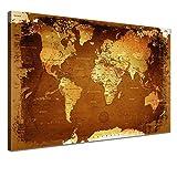 LANA KK - Leinwandbild Weltkarte Retro Bunt Weltkarte - deutsch - Kunstdruck-Pinnwand auf Echtholz-Keilrahmen – Globus in braun, einteilig & fertig gerahmt in 120 x 80 cm