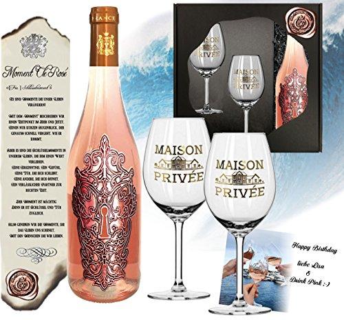 ROSE Weingeschenk mit 2 Weingläsern limitiert auf 5.000 Flaschen Frankreich Set Moment Clè Rosewein Vintage Whispering Bordeaux