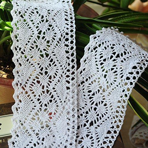 Yulakes 3 Yard 8cm Baumwolle spitzenband Vintage Häkelband Spitze Borte Häkelspitze Häkel-Borte Spitzenband für Nähen Handwerk Hochzeit Deko Scrapbooking Geschenkbox (Weiß)