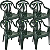CrazyGadget Plastic Garden Low Back Chair Stackable Patio Outdoor Party Seat Chairs Picnic Green Pack of 6