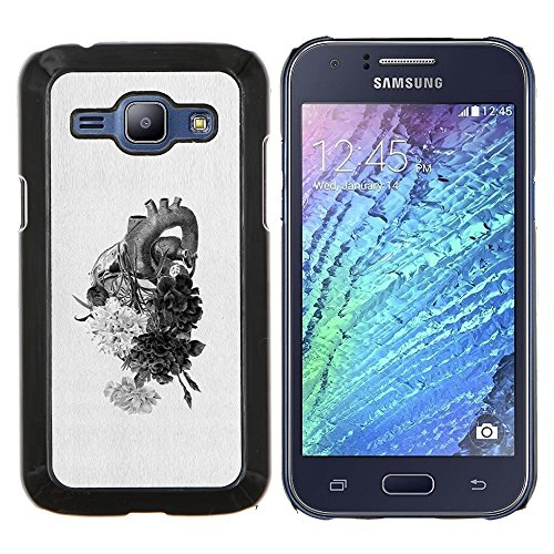 - human heart drawing pencil flowers/ Fest Snap On Handy Tasche - Cao - For Samsung Galaxy J1 J100 J100H White Hearts Snap