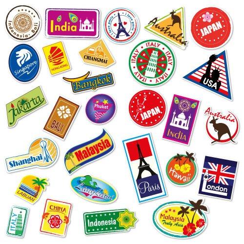 Supertogether World Travel Locations Suitcase Stickers - 28 von Gepäck Aufkleber Labels Set