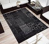 Design Velours Kurzflor Teppich »Bombay« Patchwork-Look Ornament schwarz grau, Größe:160x230 cm