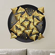 Collectible India Metal Golden Leaf Design Wall Hanging Arts Sculpture Decor Nature Home Office Art Decoration(Size 27 x 27 inches)