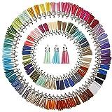 Juanya 100 piezas 50 colores 40 mm piel de ante sintética borla colgantes con tapas para clave cadena correas DIY accesorios