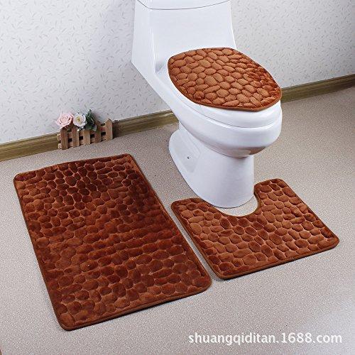 WANG-shunlida Bäder 3 WC dicken Kissen Memory Schwamm Teppich Wasseraufnahme und rutschsicher, Kopfsteinpflaster, Tuba (Kopfsteinpflaster Bad-teppiche)