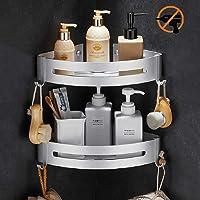 Étagère d'angle Douche, Bogeer Etagere salle de bain sans percage, Aluminium Panier de rangement pour douche avec…