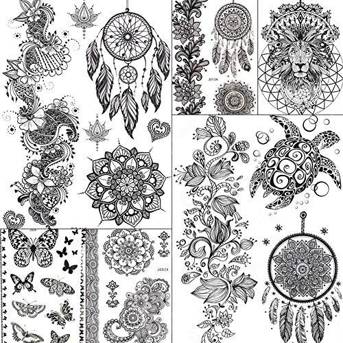 MRKAL wasserdichte India Dream Catcher Rattan Mandala Blume Tattoos Aufkleber Schwarz Frauen Temporary Tatoo Turtle Arm Boho Tattoo 21X15Cm
