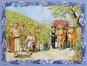 Carrelage mural fresque murale peinte sur faience for Fresque carrelage