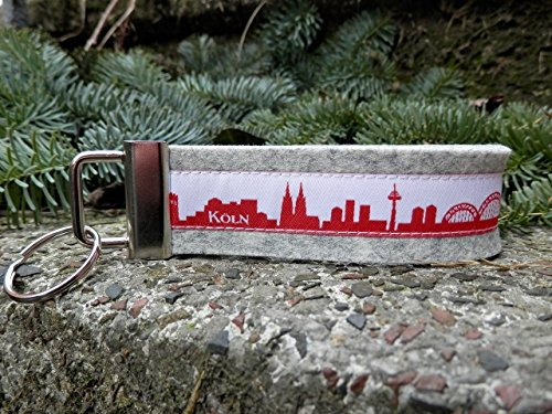 Schlüsselanhänger Schlüsselband Wollfilz hellgrau Köln Skyline rot weiß!