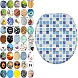 Soft Close Toilet Seat | Stable Hinges | Easy to mount | Many Different Designs (Mosaic Blue)