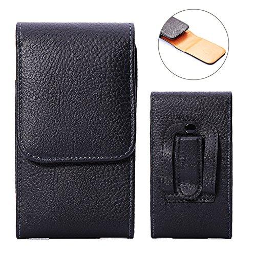 DAYNEW für 4.7-5.2-5.5 Zoll Universal-PU-Leder Hüfttasche Handytasche Tasche Smartphone Gürtelclip Haken Schleife Geldbörse Tasche für iPhone Samsung Sony Huawei-Schwarz
