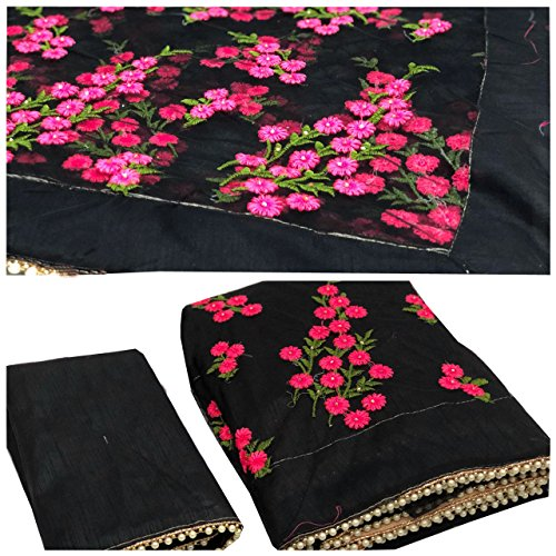 Orangesell Women's Mono net Embroidery work Saree With Blouse Piece black