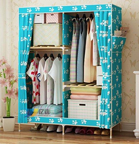 GL&G Massivholz Kleiderschrank Portable Oxford Tuch Free Standing Storage Organizer Home Finishing - tragbare, abnehmbare und individuelle leichte Kleidung Closet,G,39'' *63''