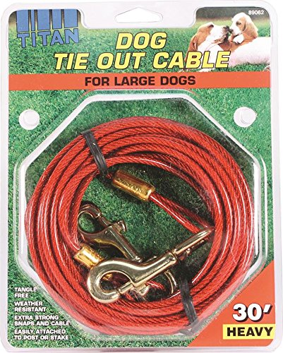 Artikelbild: Coastal Pet Products Titan Heavy 30' Dog Tie Out Cable W/Brass Plated Snaps-Red