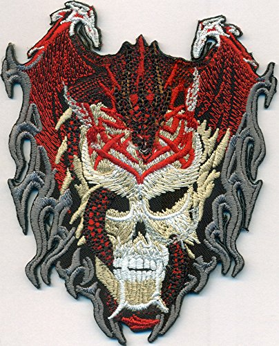 Totenkopf Drache Skull Head Tattoo Tribal Rockabilly Biker Death Metal Aufnäher (Death Head Patch)