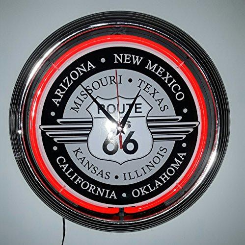 Zoom IMG-3 neon orologio clock route 66