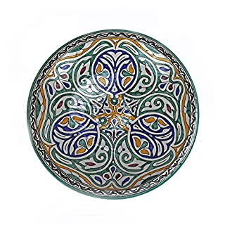 ARTIGIANATO VULCANO Flat/Centre Table cm 50 in Ceramic Hand Painted Moroccan Couscous Maker or Decorative Tagine
