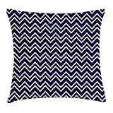 FAFANI Navy Blue Decor Throw Pillow Cushion Cover, Navy Blue Back Grounded Zig Zag Patterned Modern Design Artwork, Decorative Square Accent Pillow Case, 18 X 18 Inches, Navy Blue and White