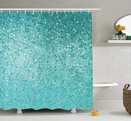 gwegvhvg Türkis Duschvorhang Set Kleine Punkt Mosaik Fliesen Form Einfache Klassische Kreative Kunstvolle Spaß Design Bad-Accessoires 180x Türkis