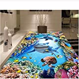 Pbldb Unterwasserwelt Marine 3 D Boden Personalisierte Foto Self-Sea World Delfinhai Korallen Dekoration Schlafzimmer Malerei Wandbild Wand 3D Tapete-350X250Cm