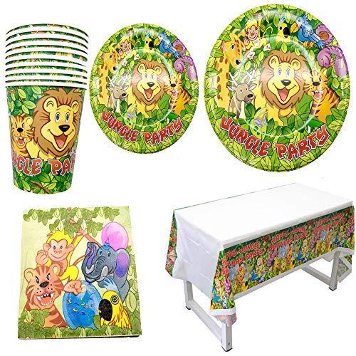 Polka Dot Sky Dschungel Safari Kinder Geburtstagsfeier Geschirr Packung Teller Becher Tischdecke Servietten Leuchtende Farben 8 Packung (33pcs)