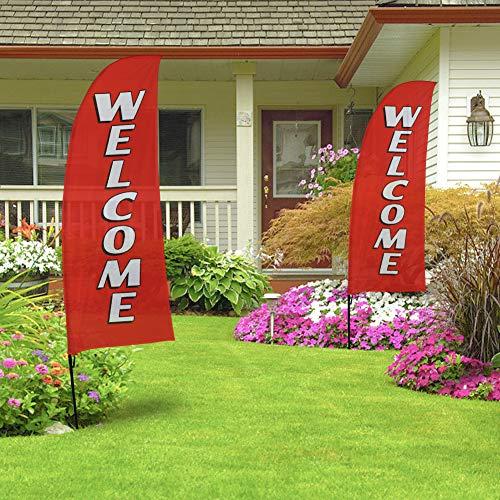 QSUM Willkommensschild Swooper Fahne und Stange Set, rote Werbung, Federflagge für Geschäft und kommerzielle -