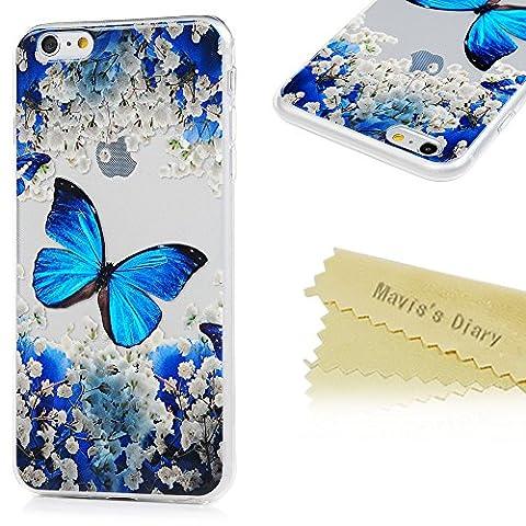 iPhone 6 Plus/iPhone 6s Plus(5,5 Zoll) Hülle Blau Schmetterling Mavis