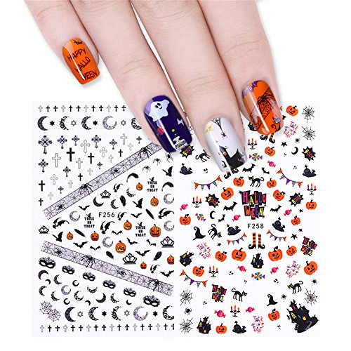 tt Halloween Eule Totenkopf Kürbis Ghost 3D Nail Sticker Nail Art Transfer Decor (Halloween Nail Transfers)