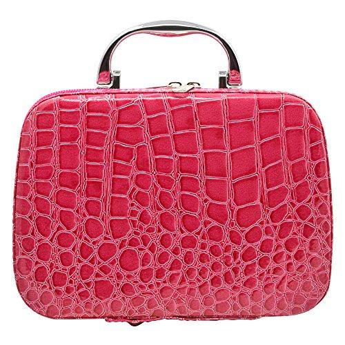 Vococal® PU Leder Krokodil Muster Make-Up Etuis Kosmetiktäschchen Kosmetik Lagerung Handtaschen mit Spiegel, Rose Rot (Krokodil-muster-leder)