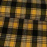 Mantelstoff Flanell Karo gelb schwarz Modestoffe - Preis