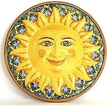 Sole in ceramica da parete decorato a mano, sole Caltagirone.