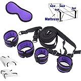 Ensemble de système de retenue de lit - Sangles de qualité médicale avec poignets confortables pour poignets et chevilles pour matelas de toutes tailles, masque pour les yeux gratuit inclus
