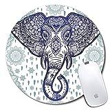 Tapis de souris rond personnalisé, motif imprimé d'éléphant aztèque, tapis de souris personnalisé confortable en caoutchouc antidérapant (7.87x7.87inch)