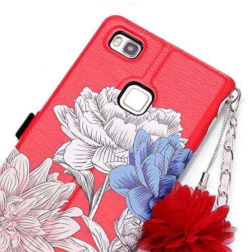 Huawei P9 Lite Hülle,BtDuck Vintage Mode Damen Blumen Blume Kette Tasche Schultertaschen Handtasche Design Brieftasche Ledertasche Cover Case Schutzhülle für Huawei P9 Lite Handytasche mit Stand Funkt Huawei P9 Lite - Blume#1