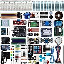 per Arduino Progetto Starter Kit con UNO R3 Board, Breadboard Holder, DC Motore per Principianti con Manuale per Arduino UNO R3 Mega2560 Mega328 NANO (Piu Completo UNO Kit)