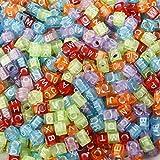 Multicolore Transparent Perles de Lettre de l'alphabet, à Utiliser avec Bandes Loom Band pour Faire des Bracelets et Autres Bijoux. Ressemble à Un Arc-en-Ciel. 6mm