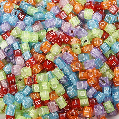 Mehrfarbig Transparent Alphabet Buchstabe Perlen, Verwendung mit Loom Band Bands, um Armbänder und anderen Schmuck. Looks Like A Rainbow. 6mm