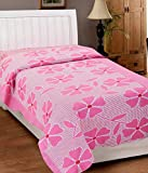 Elegance Pink Floral Cotton Single Bed S...