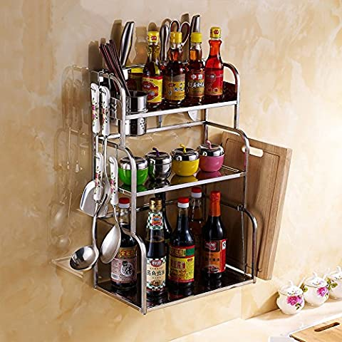 COLLECTOR Piso de estante de la cocina de acero inoxidable colgante estante montado en la pared tres capas corte tablero cuchillo cocina almacenamiento