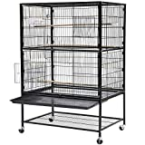 Popamazing Double Tier Large Bird Breeding Cage/Aviary on Wheels for Cockatoo/Parrot/Finch Bird with Wood Perch Stand and Removable Bottom