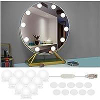 Lampe de miroir à 10 LED - Style Hollywood - Intensité variable - Éclairage pour miroir de maquillage - Pour coiffeuse…