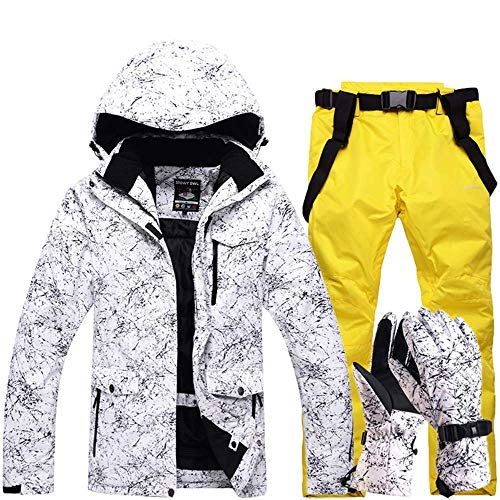 FuweiEncore Hombres, Damas, Parejas Chaquetas de esquí Impresas a Prueba de Viento, a Prueba de Viento Pantalones de esquí Conjunto Chaqueta de Snow Coat (Color : Amarillo, tamaño : XL)