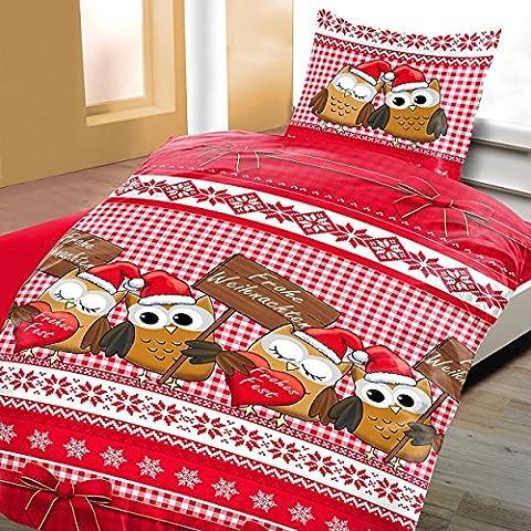 2tlg Bettwäsche Microfaser Flausch Fleece 1x 135x200 + 1x 80x80cm NEU mit RV Eulen Paar Frohe Weihnachten Rot Weiß