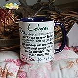 Kaffeebecher ~ Tasse - Lehrer ~ BLAU ~ Weihnachten Geschenk