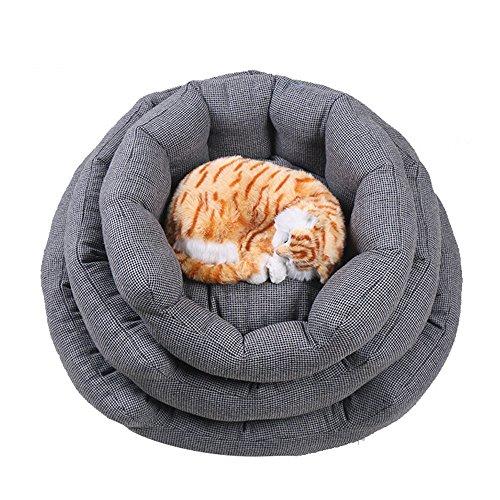 Weare Home Grau rund Form Baumwolle Bequem weich Wasserdicht und Rutschfest Boden Hundebett Katzenbett Hundehütten Katzenhütten Hundehöhle Gemütlich Schlafplatz mit Innenkissen M,50*40*18cm